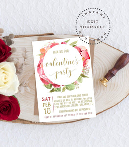 Editable Valentine Party Invitation, Instant Download Printable Pink Floral VD1 - You Can Print