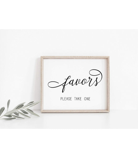 Elegant Wedding Favors Sign Modern Wedding Favors Signs Wedding Guests SF - You Can Print