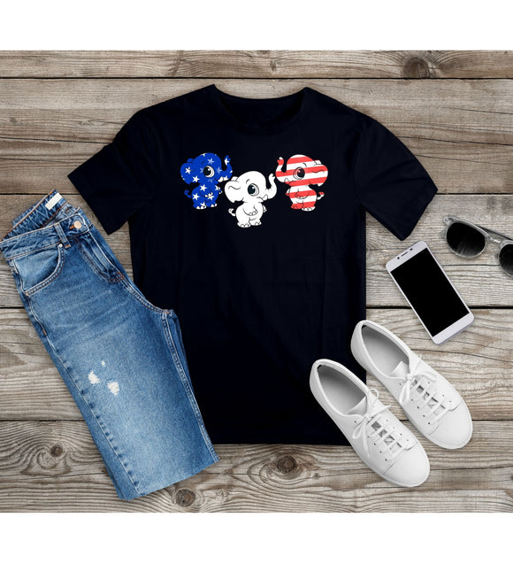 T-shirt Baby Elephant Tee US Flag Shirt Independence Day Patriotic Unisex Tee - You Can Print