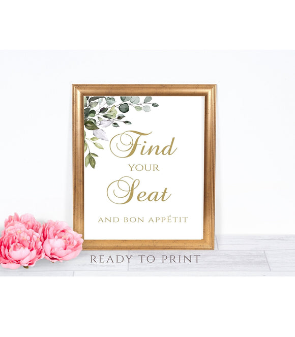 Find Your Seat Sign, Find Your Seat and Bon Appetit, Wedding Sign, Wedding Printable G1 - You Can Print