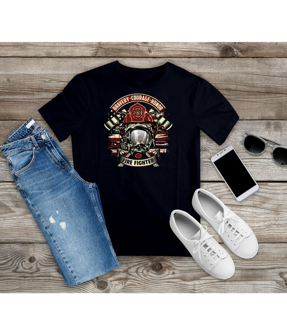 T-Shirt Bravery Courage Honor Firefighter T-shirt Unisex Tees under 20 - You Can Print