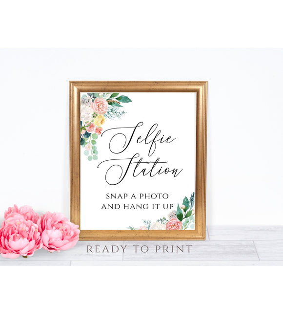 Floral Wedding Photobooth Sign,Selfie Station Snap A Photo and Hang It Up, PB - You Can Print
