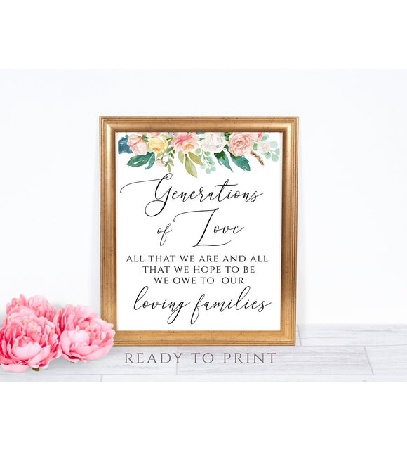 Generations of Love Sign, All That We Are And All That We Hope To Be Printable Sign PB - You Can Print