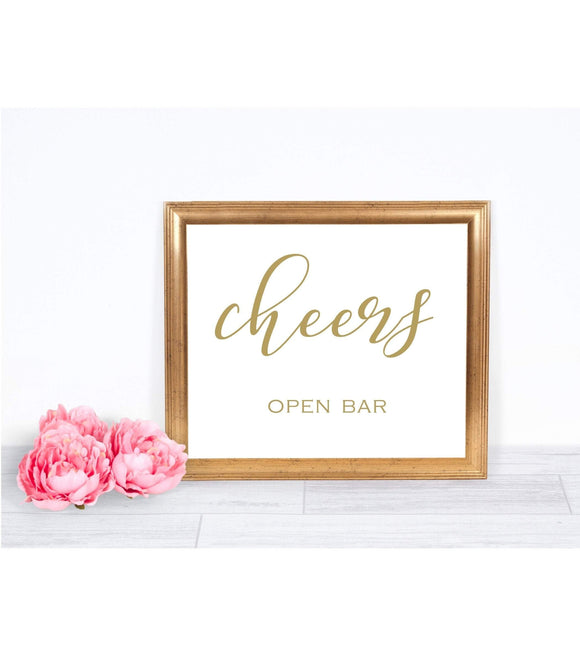 Gold Cheers Sign Wedding printable cheer Sign Wedding open Bar Sign digital SHG - You Can Print