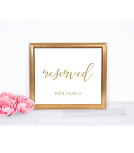 Gold Reserved Signs for Wedding,Reserved Table sign,Seating Cards, For Framing, SHG - You Can Print
