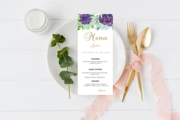 Green Succulent Menu Template, Editable Menu, Instant Download - You Can Print