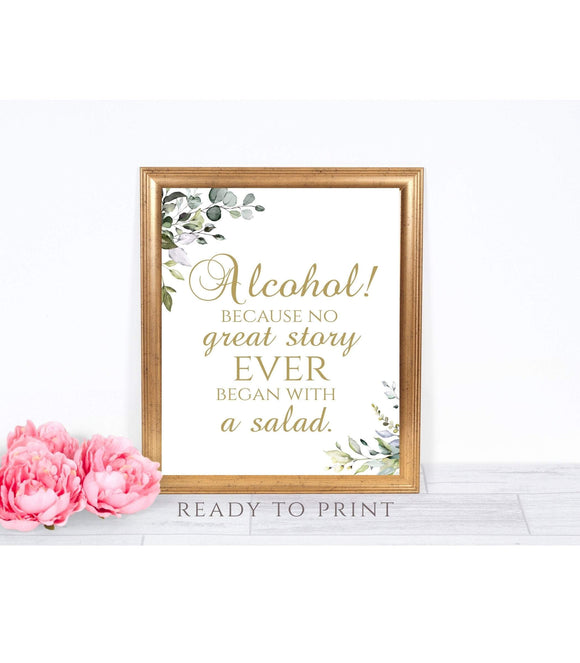 Greenery Alcohol INSTANT DOWNLOAD Retirement Party Sign printable, G1 - You Can Print
