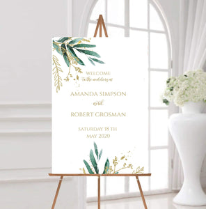 Greenery and Gold wedding welcome instant download wedding welcome, GG - You Can Print