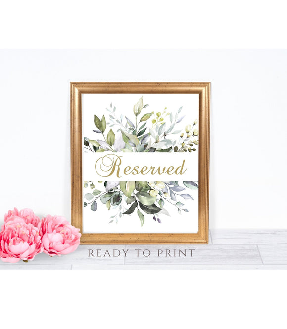 Greenery Foliage Reserved Printable reserved party Sign instant download , G1 - You Can Print