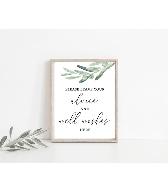Greenery Olive advice and well wishes wedding sign,advice and wishes sign, VO - You Can Print