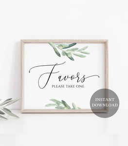 Greenery Party Favors Sign - Printable Boho Watercolor Greenery and White , VO - You Can Print