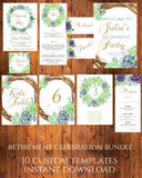 Greenery Retirement Party set printable retirement party instant download - You Can Print