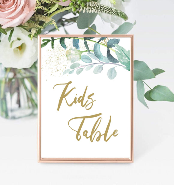Greenery Seating Chart editable Kids Table Template Printable gold Wedding GG - You Can Print