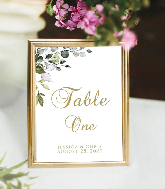 Greenery Table Number Template,TRY BEFORE You BUY,100% Editable Template, G1 - You Can Print