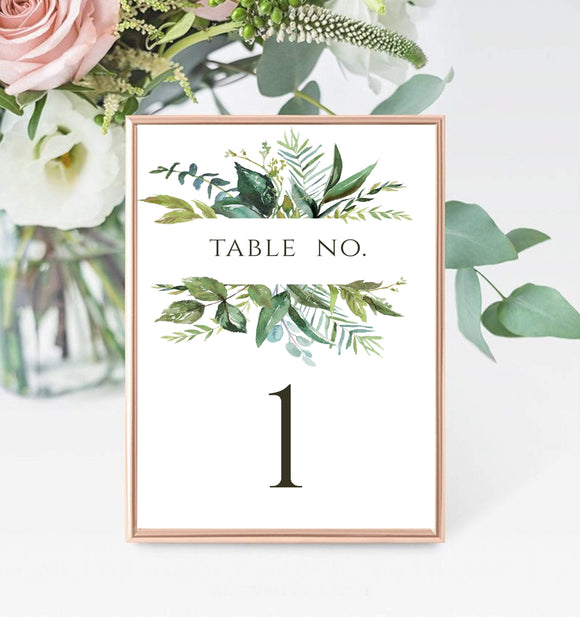 Greenery Table Numbers Template Printable Wedding Table sign instant download, GG - You Can Print