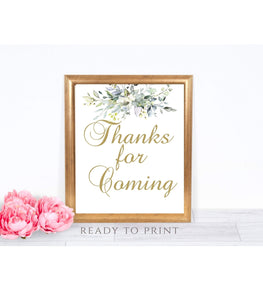 Greenery Thank You Sign Printable Thank You for Coming Party reception, G1 - You Can Print