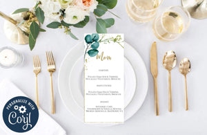 Greenery Wedding Menu Template Printable Wedding Menu Editable GG - You Can Print