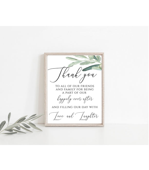Greenery Wedding Thank You Note Thank You Card Thank You Letter  VO - You Can Print