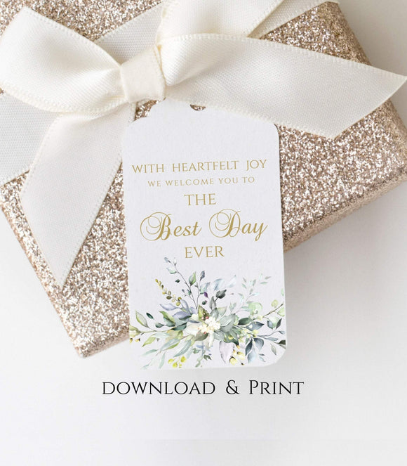 Greenery Wedding Thank You Tag, Wedding Favor Tag, Printable Best Day Ever , G1 - You Can Print