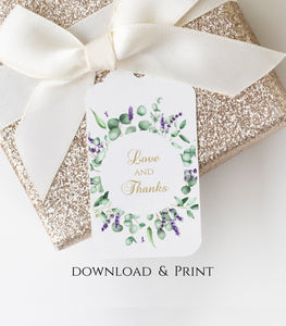 Greenery Wreath Love and Thanks FAVOR TAG . Wedding Favor Tag . Green Floral Tag, EG - You Can Print