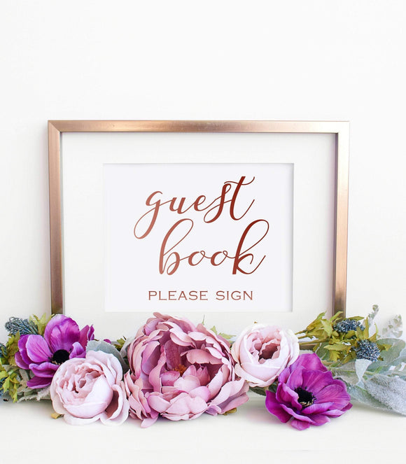 Guest Book Printable Calligraphy Guest Book Wedding Signs instant download  SHR - You Can Print