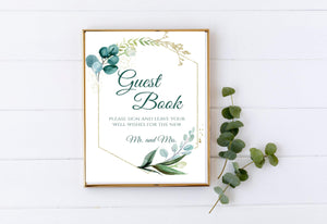 Guest book printable Greenery Wedding Guestbook Please Sign Our Guest book, GG - You Can Print