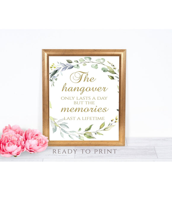 Hangover wedding Printable Hangover sign Greenery wedding bar sign, G1 - You Can Print