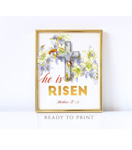 He is risen Matthew 28:6 Easter Prints Bible Verse Wall Art Christian Easter - You Can Print