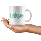 I am Unique Coffee Mug - White Ceramic Breakfast Mug 11 ounces - Gifts under 10 - You Can Print
