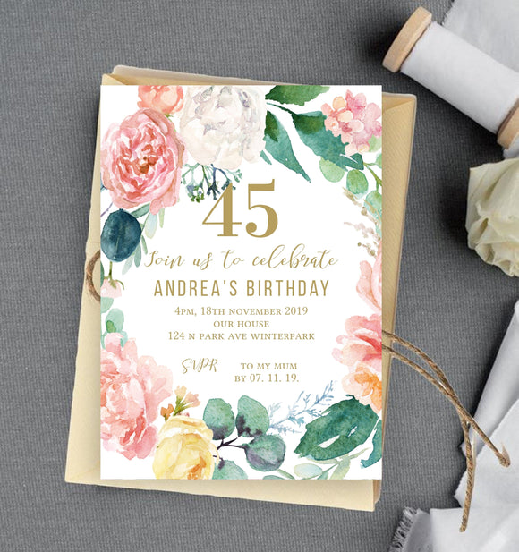 Party Birthday Invitation Digital,Printable Birthday party Template Editable, PB - You Can Print
