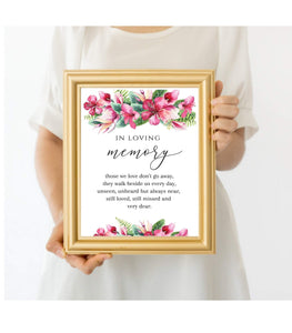In Loving memory printable wedding loving Memory Sign,Remembrance Sign - You Can Print