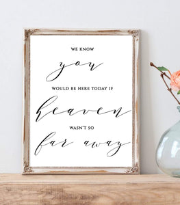 In Loving Memory Wedding Memorial instant download Heaven Far Away, MB - You Can Print