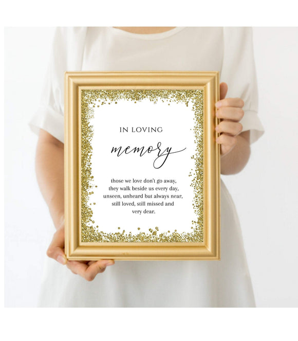 In Loving memory Wedding Sign Printable Gold Wedding memorial Sign reserved - You Can Print
