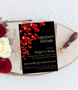 Instant Download Valentine Cocktails Party Invitation Editable Valentine day, VD1 - You Can Print