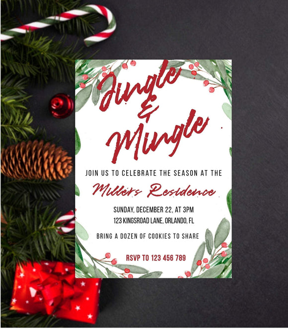 Jingle and Mingle Christmas party Invitation Printable Christmas Party - You Can Print