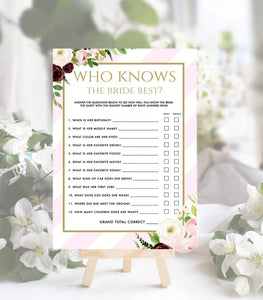 Knows the Bride Best printable Bridal Shower Games template, PS, PG - You Can Print