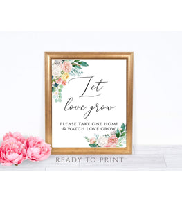 Let Love Grow Sign Printable Wedding Bridal Shower Baby Shower Favors Sign, PB - You Can Print