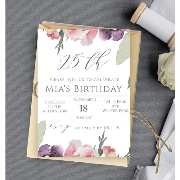 Lilac 25th Birthday Invite INSTANT DOWNLOAD, Twenty Fifth Birthday - You Can Print