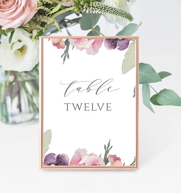 Lilac Floral Wedding Table Name Card, INSTANT DOWNLOAD, 5 x 7 inches - You Can Print