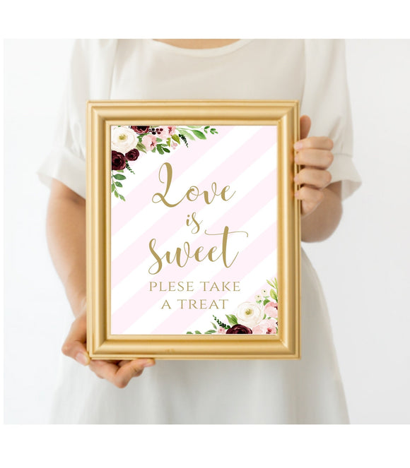 Love Is Sweet Take A Treat Favor Table Sign digital Bridal Shower Sign template, PS - You Can Print