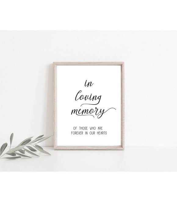 Loving Memory Printable Wedding Remembrance Sign DOWNLOAD loving, SF - You Can Print
