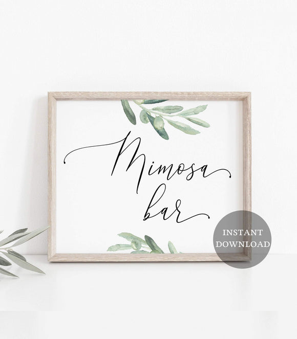 Mimosa bar sign printable,Greenery bridal shower mimosa bar sign, VO - You Can Print