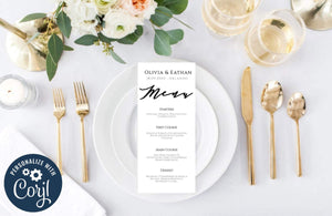 Minimalist Wedding Menu Template,Printable Modern Dinner Menu - You Can Print