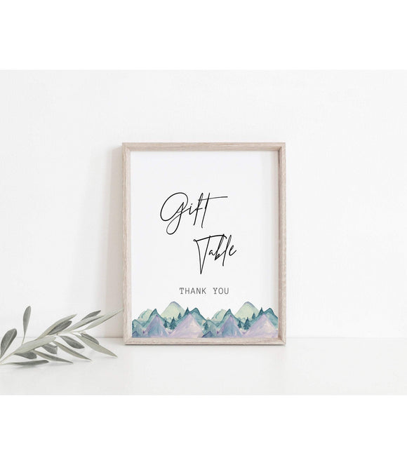 Mountains Wedding Gift Table decor Gift Table Printable gifts Sign Instant - You Can Print