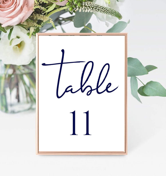 Navy Blue Table Number Card Template, Printable Wedding Table Seating, BB - You Can Print