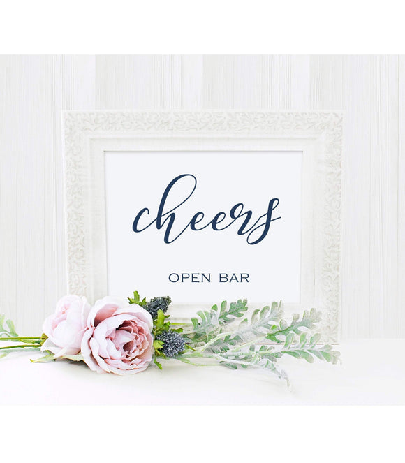 Open Bar Sign, Navy Blue Instant Download Printable,Rustic, BB - You Can Print