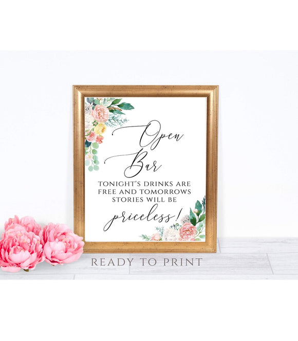 Open Bar Sign, Wedding Open Bar Sign, Printable Wedding Bar Sign, PB - You Can Print