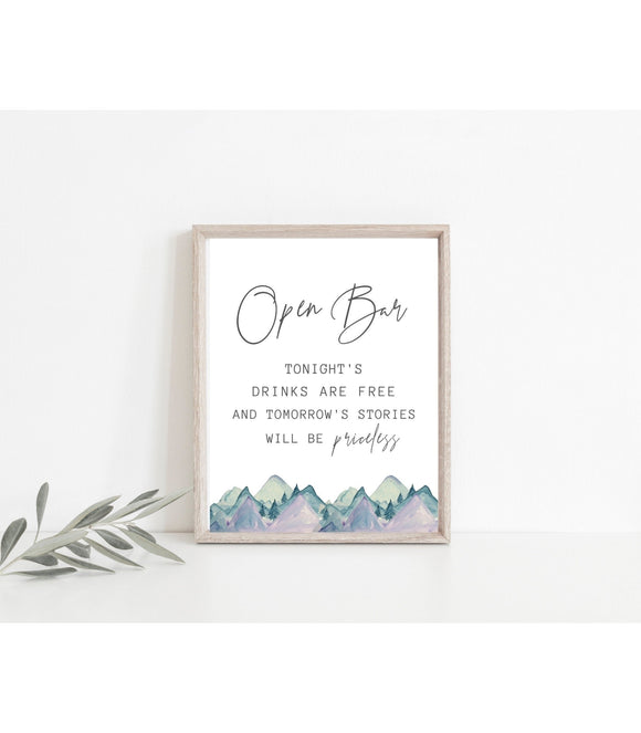 Open Bar Sign, wedding signs, printable wedding signs - You Can Print