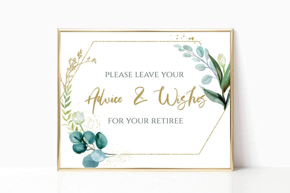 Party Advice and Wishes Printable Retirement Advice and wishes Instant GG - You Can Print