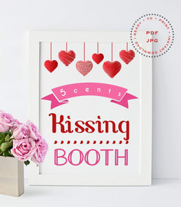 Party Kissing booth Valentine Signs, Valentine Sign,Valentine Day Decor, VD1 - You Can Print